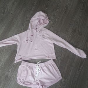 Cropped hoodie and matching shorts